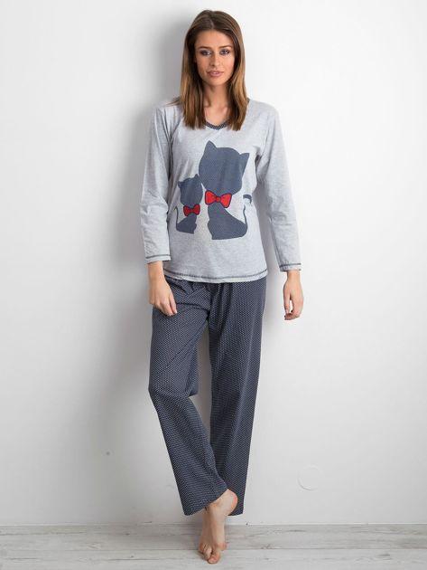Szaro-granatowa piżama damska dwuczęściowa                              zdj.                              1