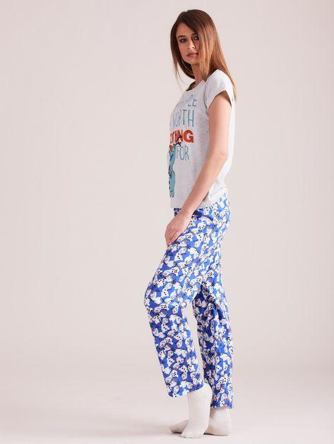 Szaro-granatowa piżama z nadrukiem w bałwanki                              zdj.                              2
