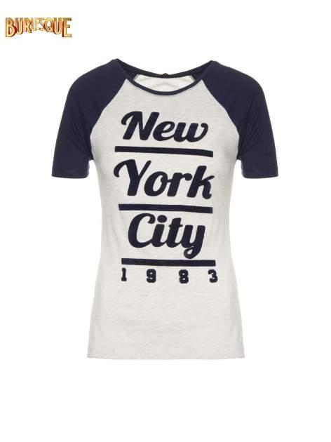 Szaro-granatowy t-shirt z nadrukiem NEW YORK CITY 1983                                  zdj.                                  1