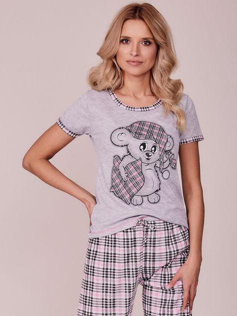 d04d3586760598 Szaro-jasnoróżowa piżama w kratkę - Bielizna piżama - sklep eButik.pl