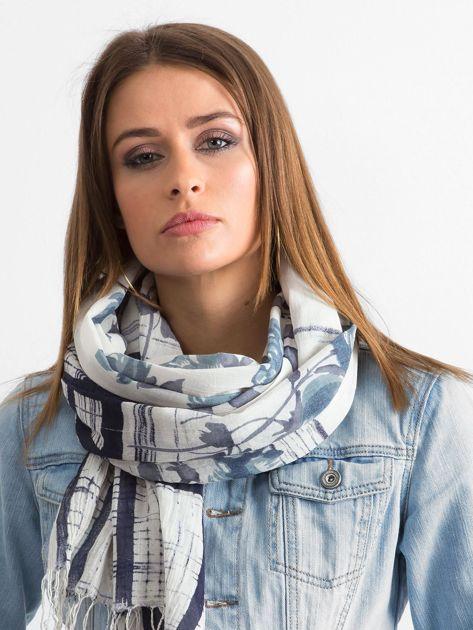 Szaro-niebieska bawełniana chusta we wzory