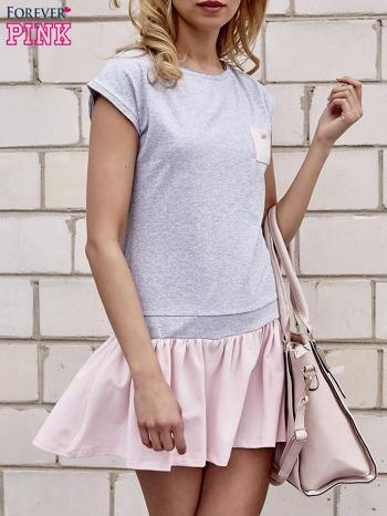 Szaro-różowa dresowa sukienka tenisowa z kieszonką                                  zdj.                                  1