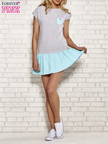 Szaro-turkusowa dresowa sukienka tenisowa z kieszonką                                  zdj.                                  2