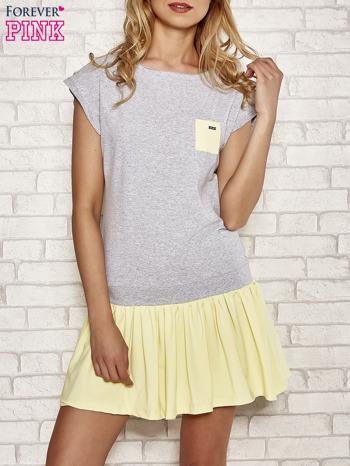 Szaro-żółta dresowa sukienka tenisowa z kieszonką                                  zdj.                                  1