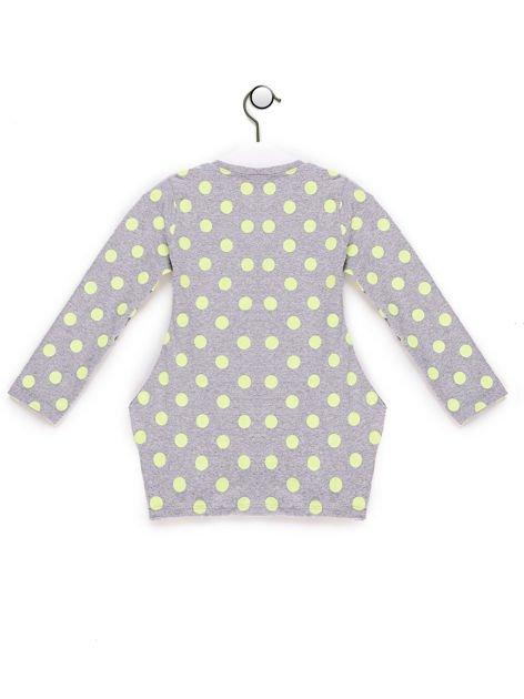 Szaro-żółta tunika dla dziewczynki w groszki