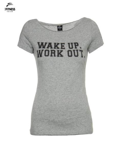 Szary bawełniany t-shirt z nadrukiem tekstowym WAKE UP WORK OUT                                  zdj.                                  2