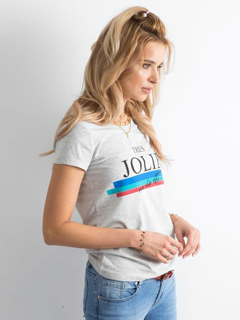 Szary bawełniany t-shirt z napisem                               zdj.                              3