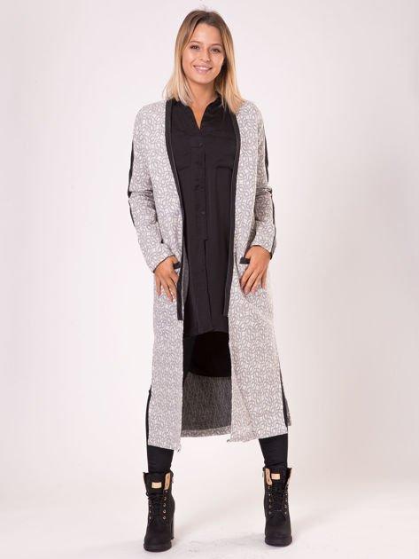 Szary długi płaszcz ze skórzanymi wstawkami                               zdj.                              4