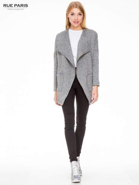Szary melanżowy bluzożakiet z kieszeniami                                  zdj.                                  2