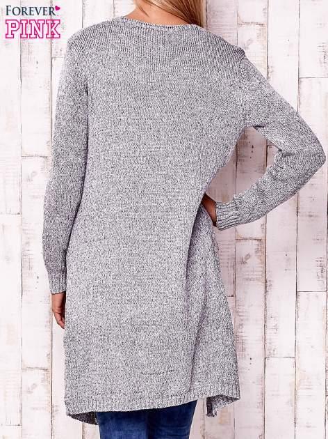 Szary otwarty sweter z kieszeniami                                  zdj.                                  4