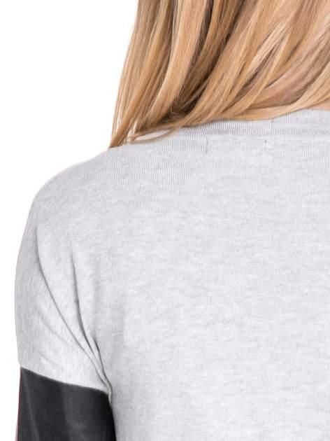 Szary sweter kardigan ze skórzanym rękawami 3/4                                  zdj.                                  7