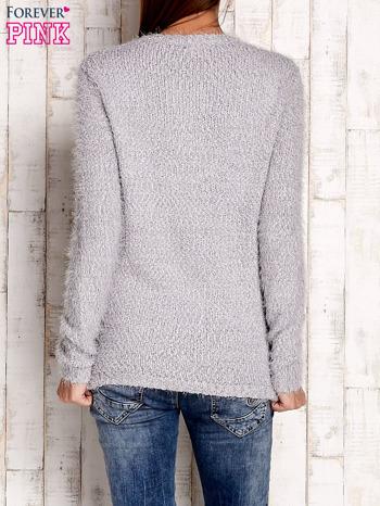 Szary sweter long hair z kokardkami                                  zdj.                                  4