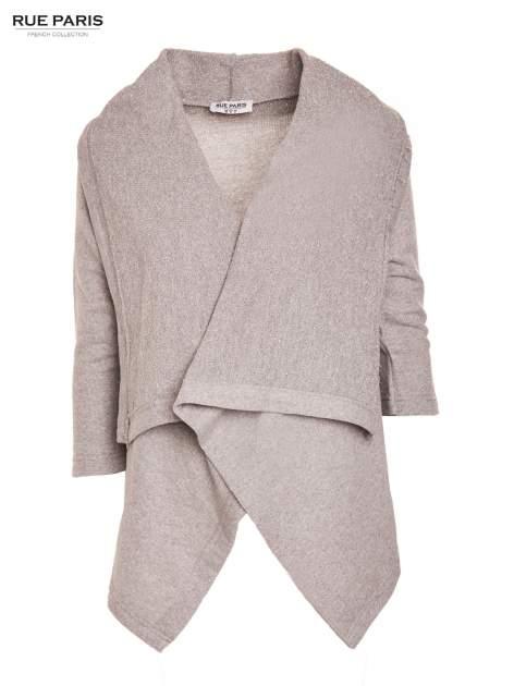 Szary sweter narzutka z dresowej dzianiny przeplatanej metalizowaną nicią