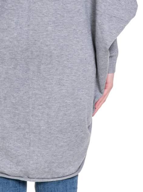 Szary sweter narzutka z nietoperzowymi rękawami                                  zdj.                                  8