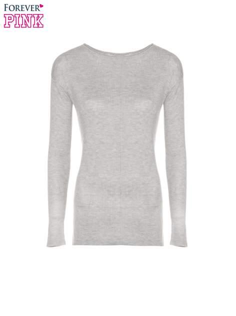 Szary sweter z dłuższym tyłem i rozporkami po bokach                                  zdj.                                  5