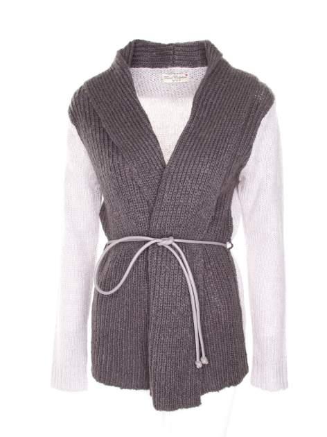 Szary sweter z kontrastowymi rękawami i paskiem