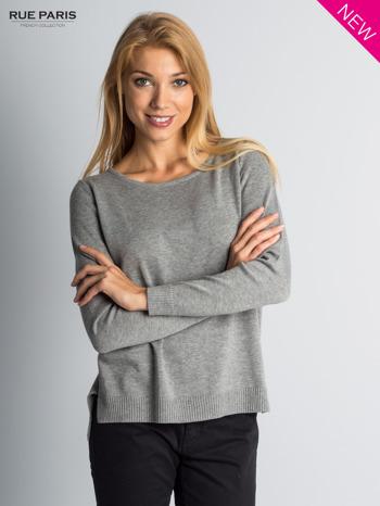Szary sweter z rozporkami i dłuższym tyłem                                  zdj.                                  1