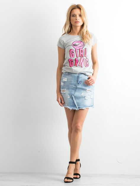 Szary t-shirt Girlgang                              zdj.                              4