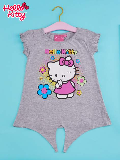Szary t-shirt dla dziewczynki HELLO KITTY z wiązaniem na dole