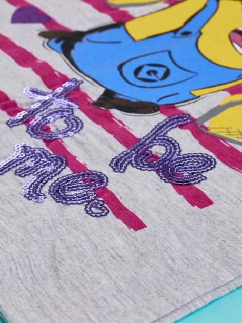 Szary t-shirt dla dziewczynki MINIONKI z cekinami                                  zdj.                                  8