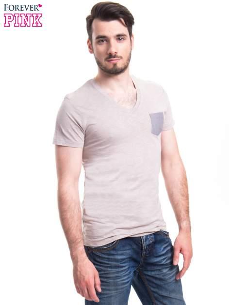 Szary t-shirt męski z kieszonką                                  zdj.                                  3