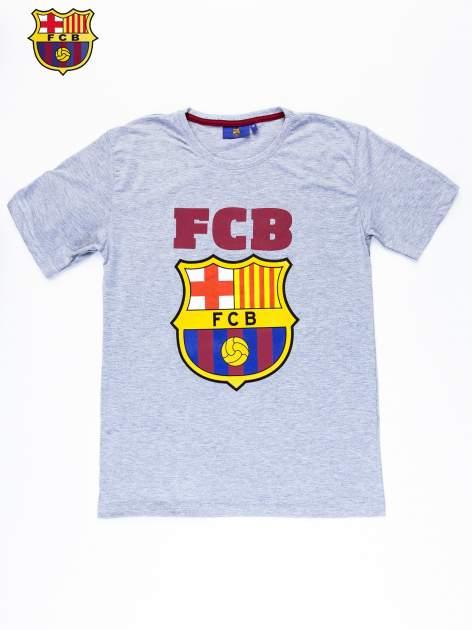 Szary t-shirt męski z motywem FC BARCELONA                                  zdj.                                  10