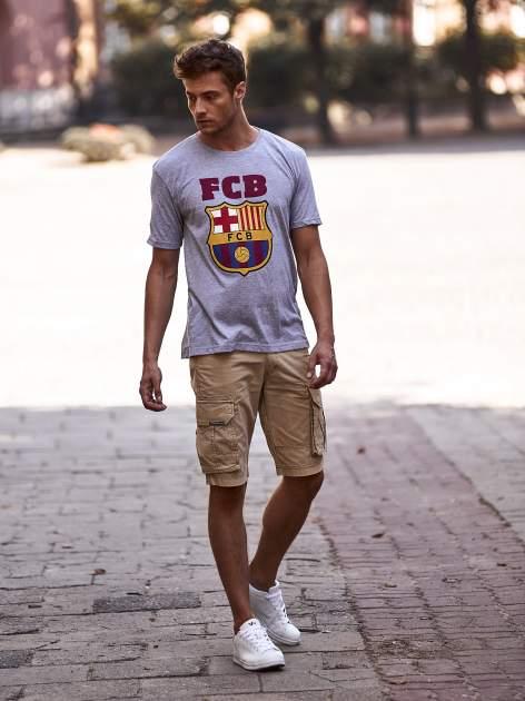 Szary t-shirt męski z motywem FC BARCELONA                                  zdj.                                  14