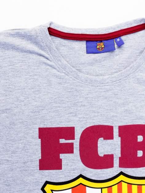 Szary t-shirt męski z motywem FC BARCELONA                                  zdj.                                  12