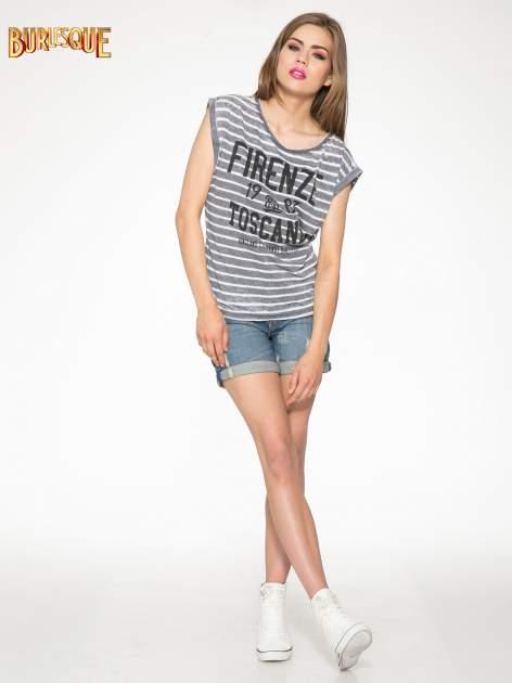 Szary t-shirt w paski z napisem FIRENZE TOSCANA                                  zdj.                                  2