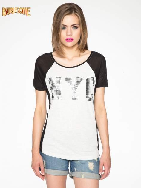 Szary t-shirt z błyszczącym nadrukiem NYC                                  zdj.                                  12