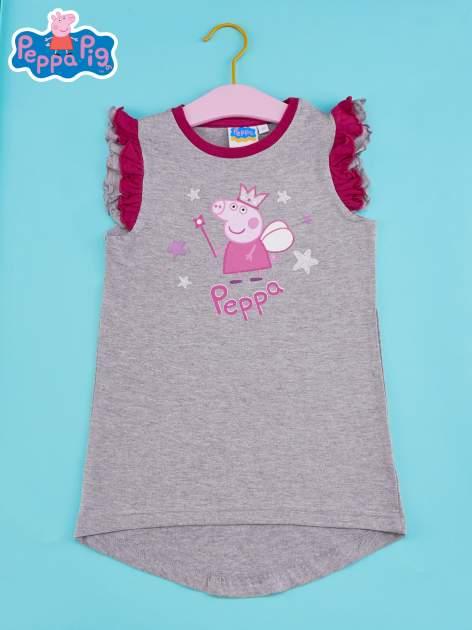 Szary t-shirt z falbankami na rękawach dla dziewczynki ŚWINKA PEPPA                                  zdj.                                  1