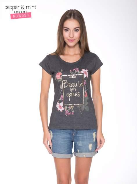 Szary t-shirt z kwiatowym nadrukiem i złotym napisem                                  zdj.                                  1