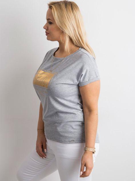 Szary t-shirt z nadrukiem PLUS SIZE                              zdj.                              3