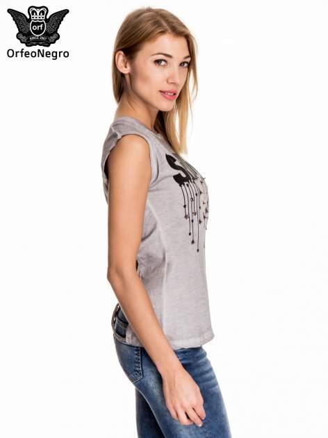 Szary t-shirt z nadrukiem SHINE z gwiazdkami                                  zdj.                                  3