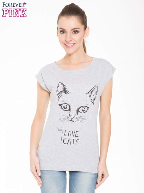 Szary t-shirt z nadrukiem kota i napisem LOVE CATS