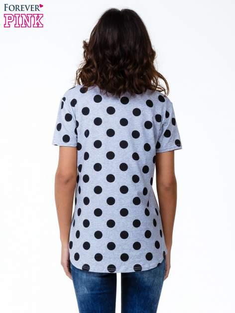 Szary t-shirt z nadrukiem ust                                   zdj.                                  4
