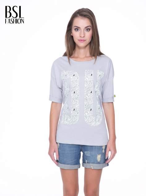 Szary t-shirt z nadukiem DUDE z przodu i na plecach                                  zdj.                                  1
