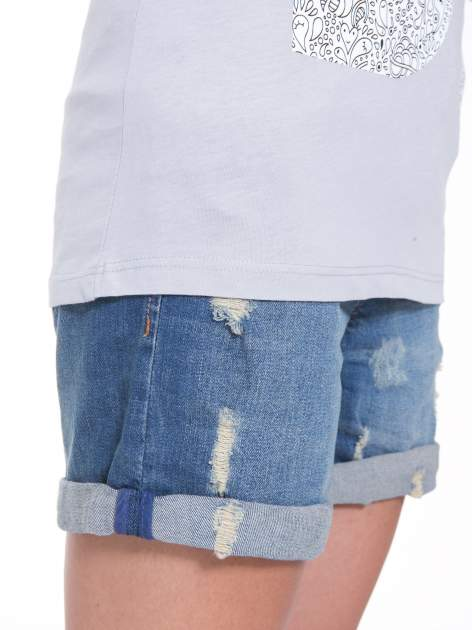 Szary t-shirt z nadukiem DUDE z przodu i na plecach                                  zdj.                                  9