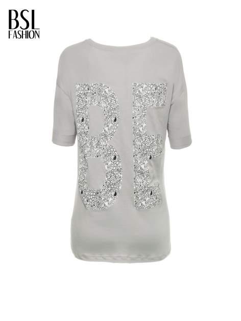 Szary t-shirt z nadukiem WIBE z przodu i na plecach                                  zdj.                                  3