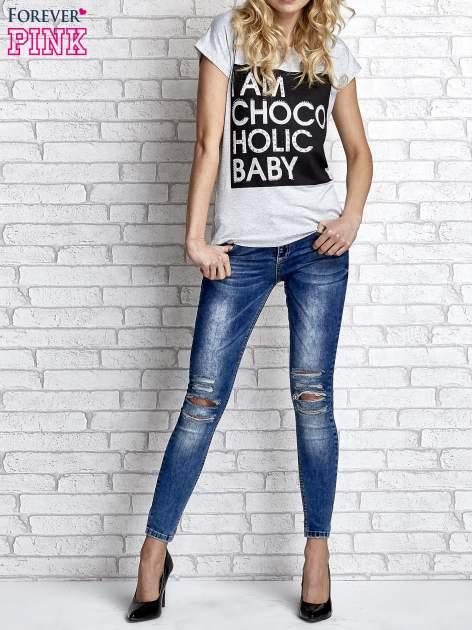 Szary t-shirt z napisem I AM CHOCOHOLIC BABY                                  zdj.                                  6
