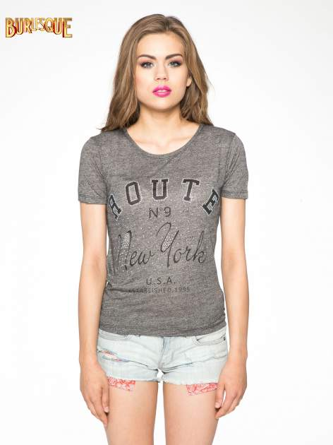 Szary t-shirt z napisem ROUTE NEW YORK                                  zdj.                                  12