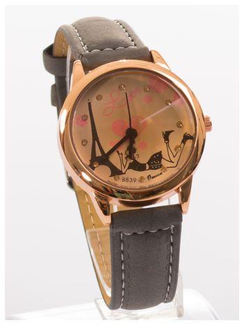 Szary zegarek damski z cyrkoniami na skórzanym pasku                                  zdj.                                  2