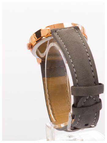 Szary zegarek damski z cyrkoniami na skórzanym pasku                                  zdj.                                  3