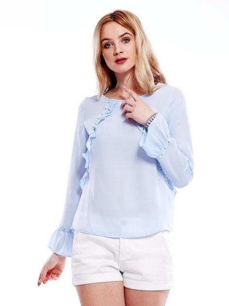 Szyfonowa bluzka z falbankami i aplikacją jasnoniebieska                                  zdj.                                  6
