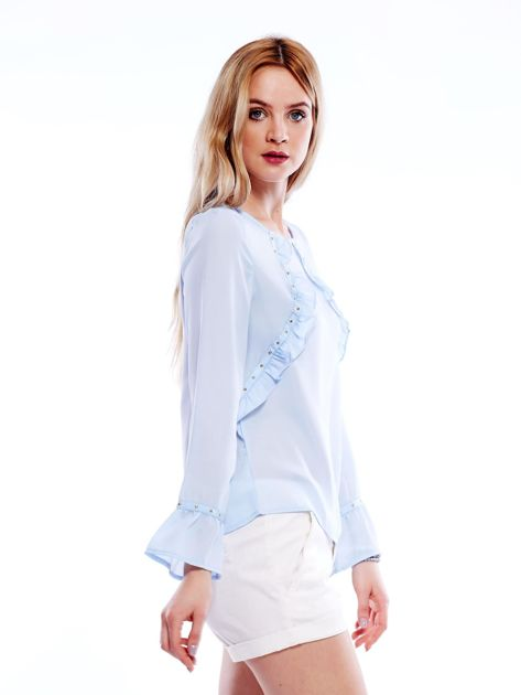 Szyfonowa bluzka z falbankami i aplikacją jasnoniebieska                                  zdj.                                  8