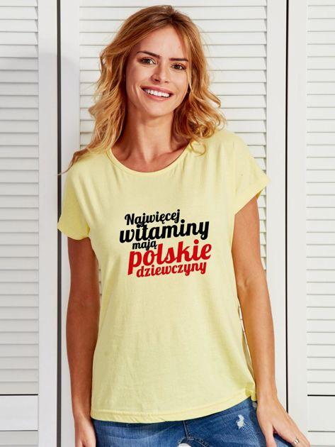 T-shirt NAJWIĘCEJ WITAMINY MAJĄ POLSKIE DZIEWCZYNY żółty                                  zdj.                                  1