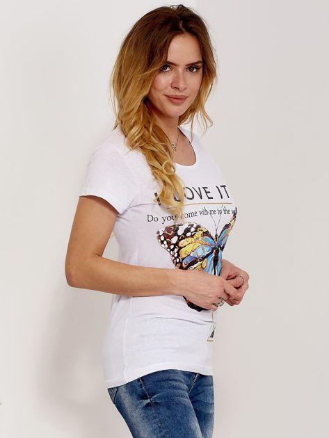 T-shirt biały z motylem                                  zdj.                                  5