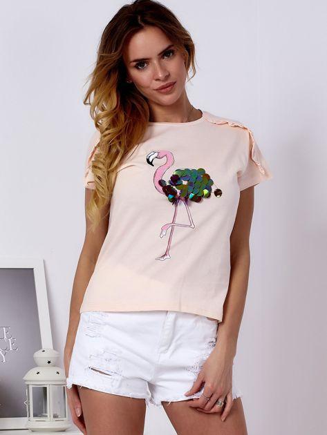 T-shirt brzoskwiniowy z cekinowym flamingiem                              zdj.                              1