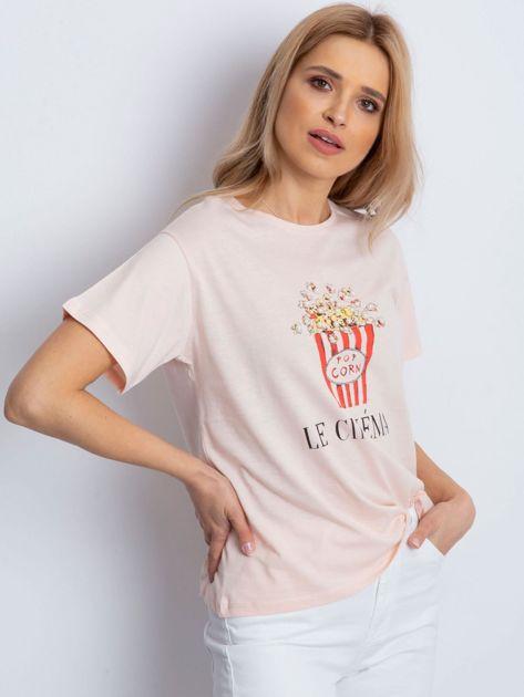 T-shirt brzoskwiniowy z popcornem                              zdj.                              3