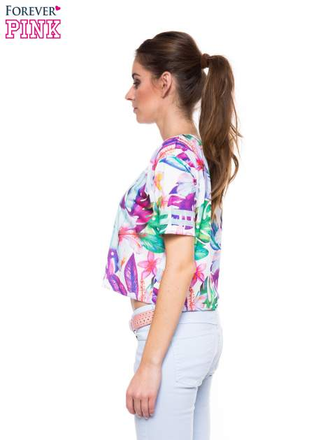 T-shirt crop top z exotic printem                                  zdj.                                  2